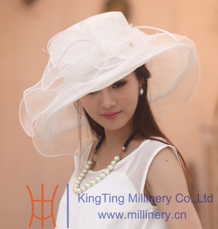 Free shipping new arrival women organza hat family hat with flower wide brim floppy ruffle wave brim for adult and child choiceОдежда и ак�е��уары<br><br><br>Aliexpress