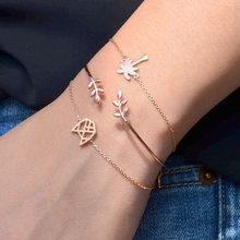 Moduł moda złoty kolor list miłość węzeł regulowany otwarty urok bransoletka zestaw dla kobiet(China)