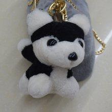 Bonito Anel Chave Cão Animal de Pelúcia Hamster Pengpeng Pele Real Anel Chave Do Carro Chaveiro de Pelúcia Acessórios Charme(China)