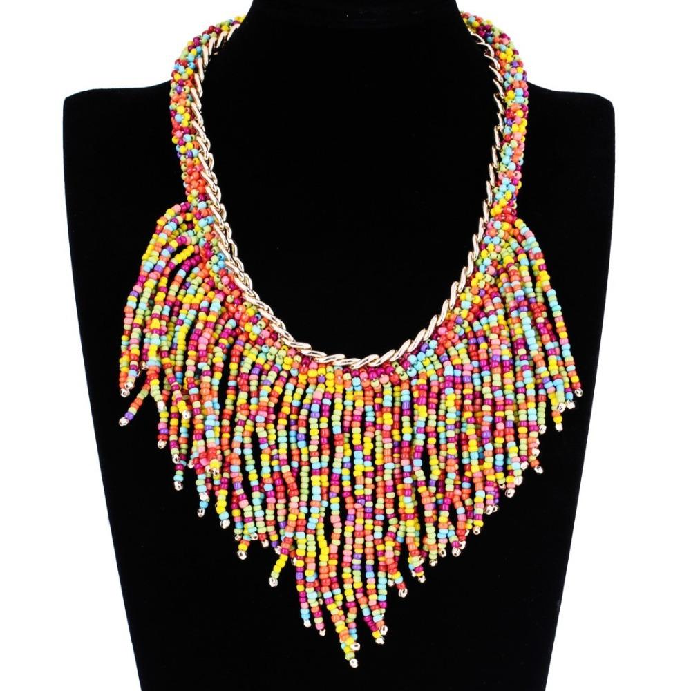 2015 Sunshine zhejiang Fashion Jewelry Vintage Gold Chain Bohemia Resin Beads Tassel Bib Collar Choker Necklace Women 13 Colors - MOONEY PY STORE store