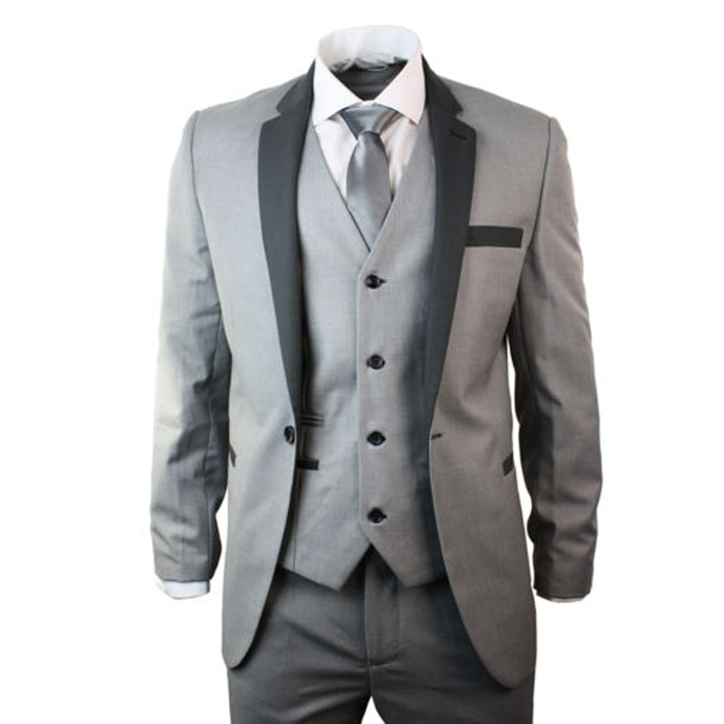 mens 4 piece light grey suit charcoal trim slim fit
