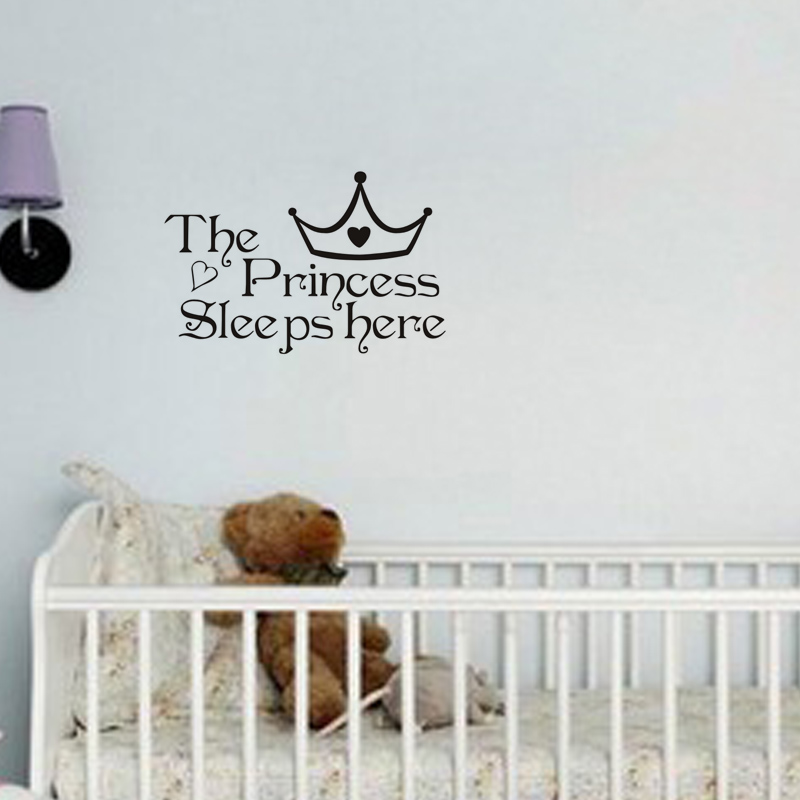 Free shipping:The Princess wall stickers sleeps here wall decals home decor wall art quote bedroom wallpaper wall sticker(China (Mainland))