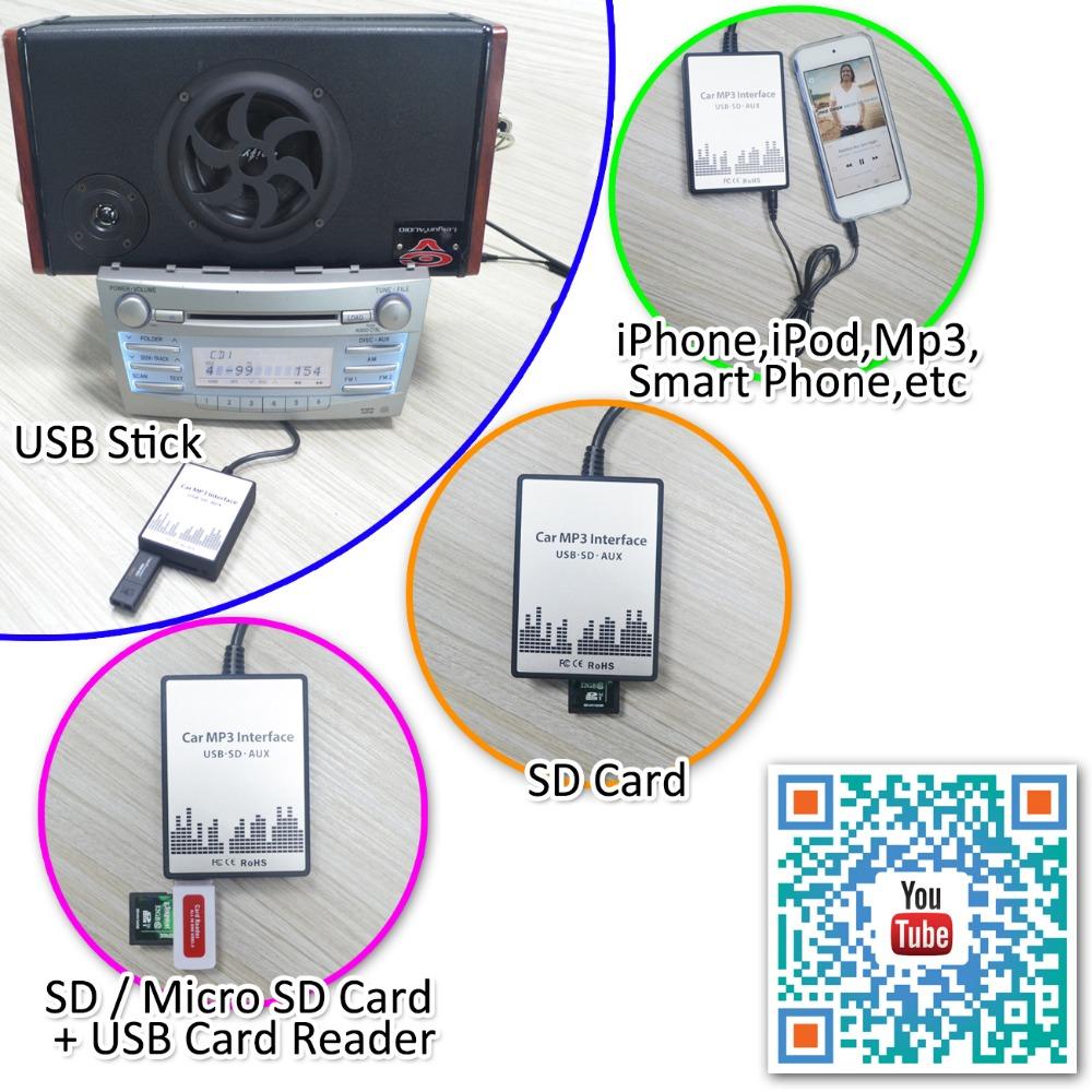 APPS2Car RD3 USB SD AUX Adaptateur MP3 iPod Audio Numérique Changeur CD Voiture pour PEUGEOT 106 206 307 406 CITROEN C3 C4 C5 C8 avec Radio RD34