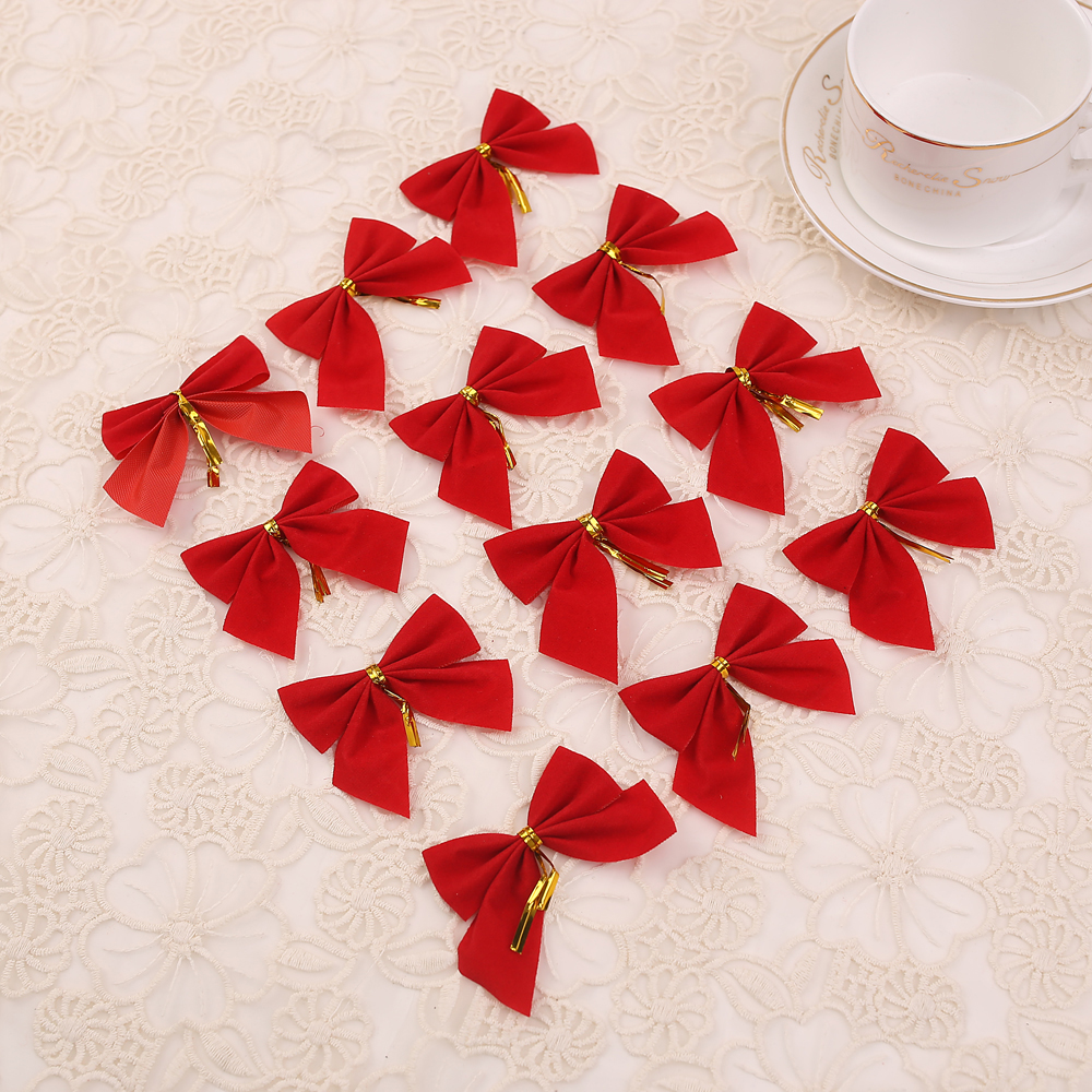 New year merry red bow ties christmas tree decorations for for Outdoor merry christmas ornaments