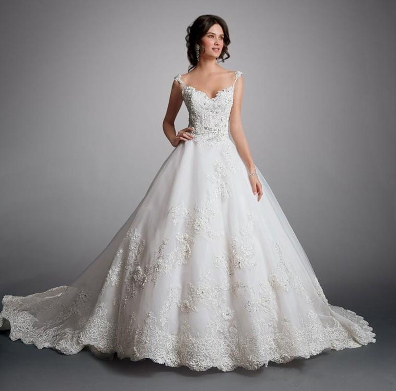 Elegant ball gown spaghetti straps appliques lace wedding for Spaghetti strap ball gown wedding dress