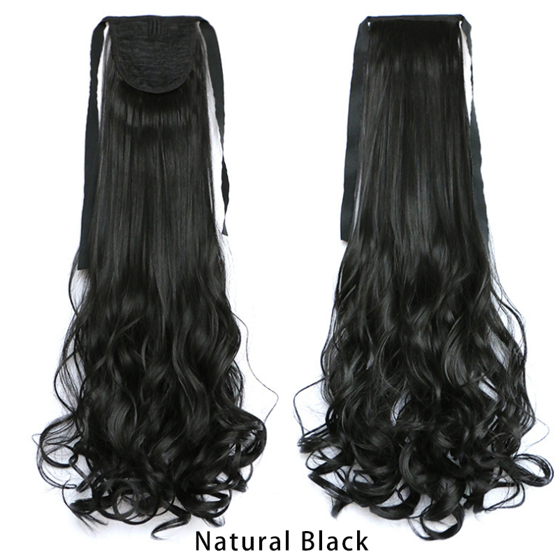 100% High Quality 1pcs Bulk Curly Wave Ponytail Extensions 45cm Synthetic False Pony Tail Hair Color Natural Black,Brown<br><br>Aliexpress