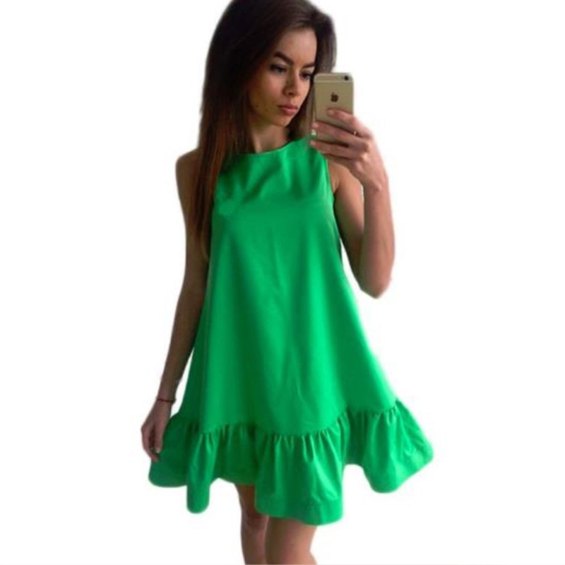 Summer dress Solid sleeveless A-line Beach Casual dress o-neck loose Women Dress above knee mini Ruffles dresses 2017 SLD57(China (Mainland))