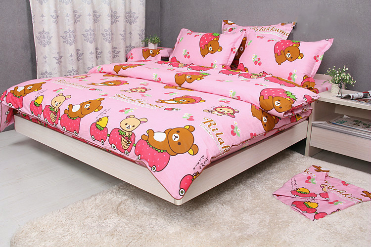 Pink Rilakkuma Bedding Set Twin/ Full/ Queen Rilakkuma Bed Sheets With Strawberry 100% Cotton Duvet Cover Set 5 Pieces(China (Mainland))