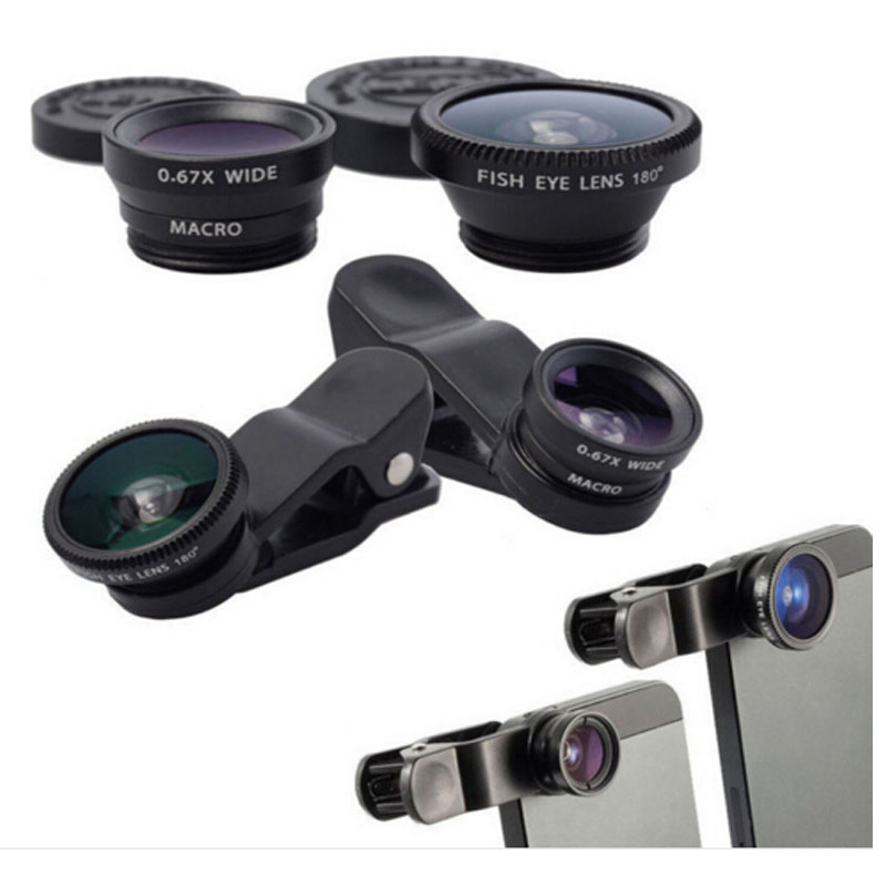 black 3 In 1 Universal Clip camera Mobile Phone Len Fish Eye + Macro + Wide Angle for iphone 6 5 4 Samsung S4/S5 note2 Fisheye(China (Mainland))