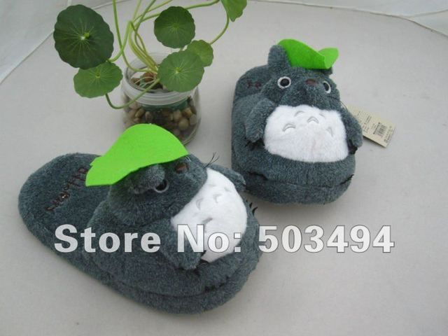 """Free Shipping EMS  New Totoro Ghibli Cosplay Adult Plush Rave Shoes Slippers 11"""" Totoro grey slipper Totoro slippers Gray"""