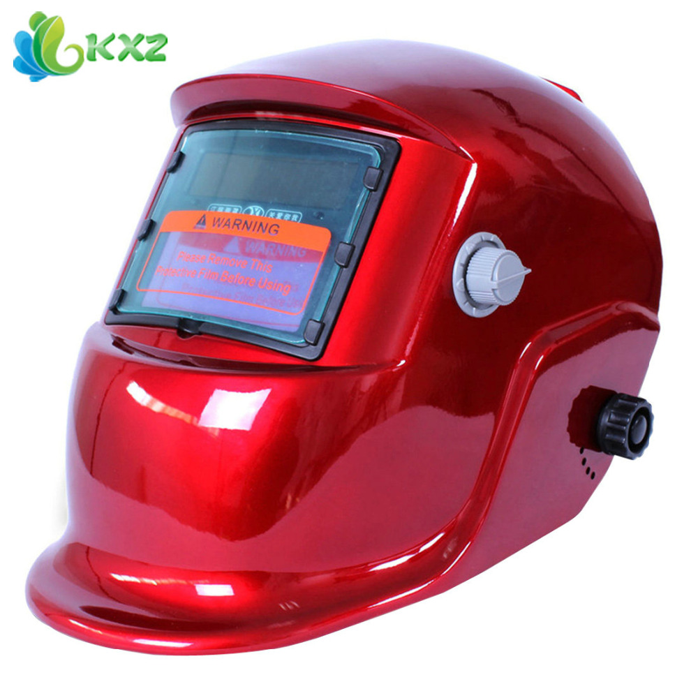 Red Solar Welder Cap Auto Darkening Electric Welding Helmet Mask Lens with Grinding Function for ARC / MIG / TIG / Stick Welding(China (Mainland))