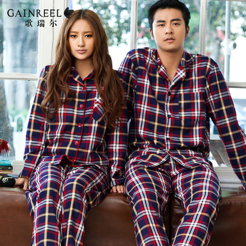 Spring song Riel casual long sleeved plaid men and women who tracksuit couple can Waichuan Pyjamas