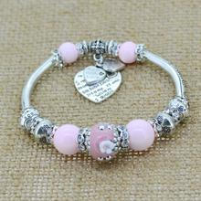 silver love heart charm bracelet bangles glass beads strand bracelets  fashion jewelry for women 2014(China (Mainland))