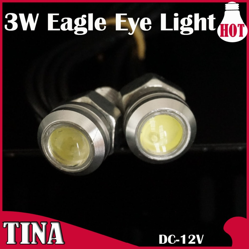 2pair 3W High Power LED Larger Lens Ultra-thin car led Eagle Eye Tail light Backup Rear Lamp White Red Color - TINA-LED company store