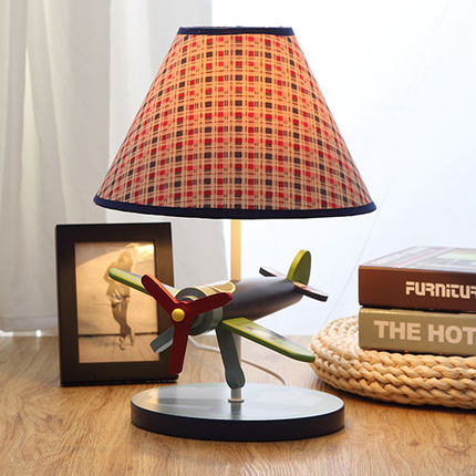 Children bedroom cloth art bed lamp creative cute wooden airplane lamp decoration table lamp birthday gift(China (Mainland))