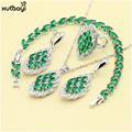 XUTAAYI Wedding 925 Silver Jewelry Sets Green Imitated Emerald Necklace Pendant Rings Earrings Bracelet For women