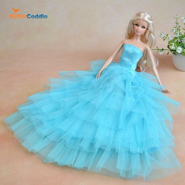 Top! Doll Dress Lake Blue 7 Layers Skirt Princess Evening Gown Purely Manual Clothes Wedding Dress for Barbie Dolls Cute Gown(China (Mainland))