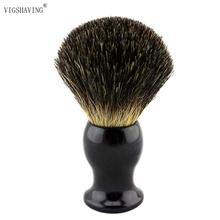 VIGSHAVING Style 1# Black Color Resin Handle Black Pure Badger Hair Shaving Brush(China (Mainland))