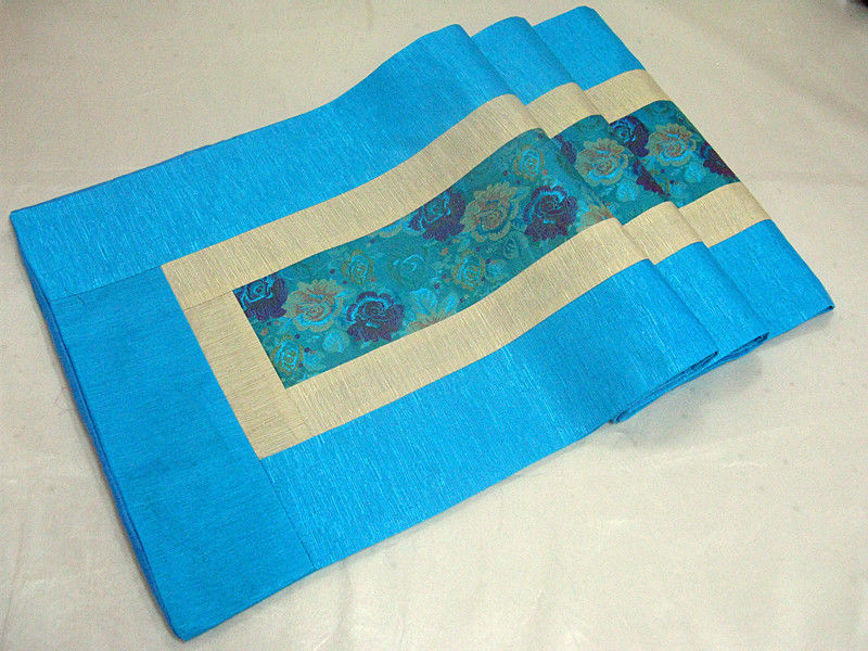 200*33cm Noble Chinese Vintage Mixed Brocade& Silk Beautiful Sky Blue Table Runner Cloth& Bed Flag(China (Mainland))