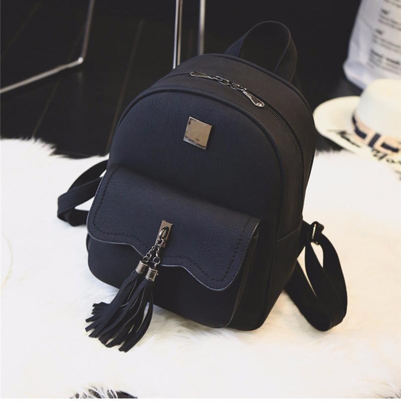 tassel women leather backpack teenage backpacks for girls vintage feminine backpack 3157 sac a. Black Bedroom Furniture Sets. Home Design Ideas