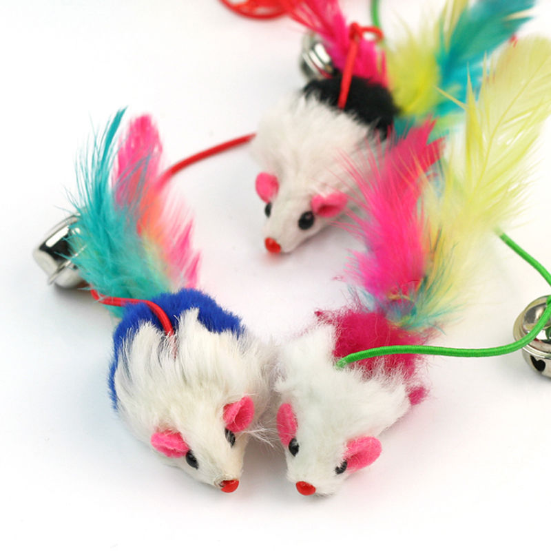 Randomly color !!! For Pet Cat Bell The Dangle Faux Mouse Rod Roped Funny Fun Play Playing Toy 1 pc(China (Mainland))