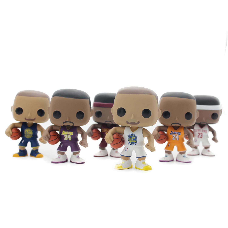 Chanycore Funko pop 6 Types 10cm With Original Box Lebron James Kobe Bryant Stephen Curry Super Star NBA Basketball Vinyl Figure(China (Mainland))