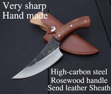 Very sharp High-carbon steel Hand made fixed hunting knife 24cm 58HRC Rosewood handle survival camping tactical rescue tools(China (Mainland))