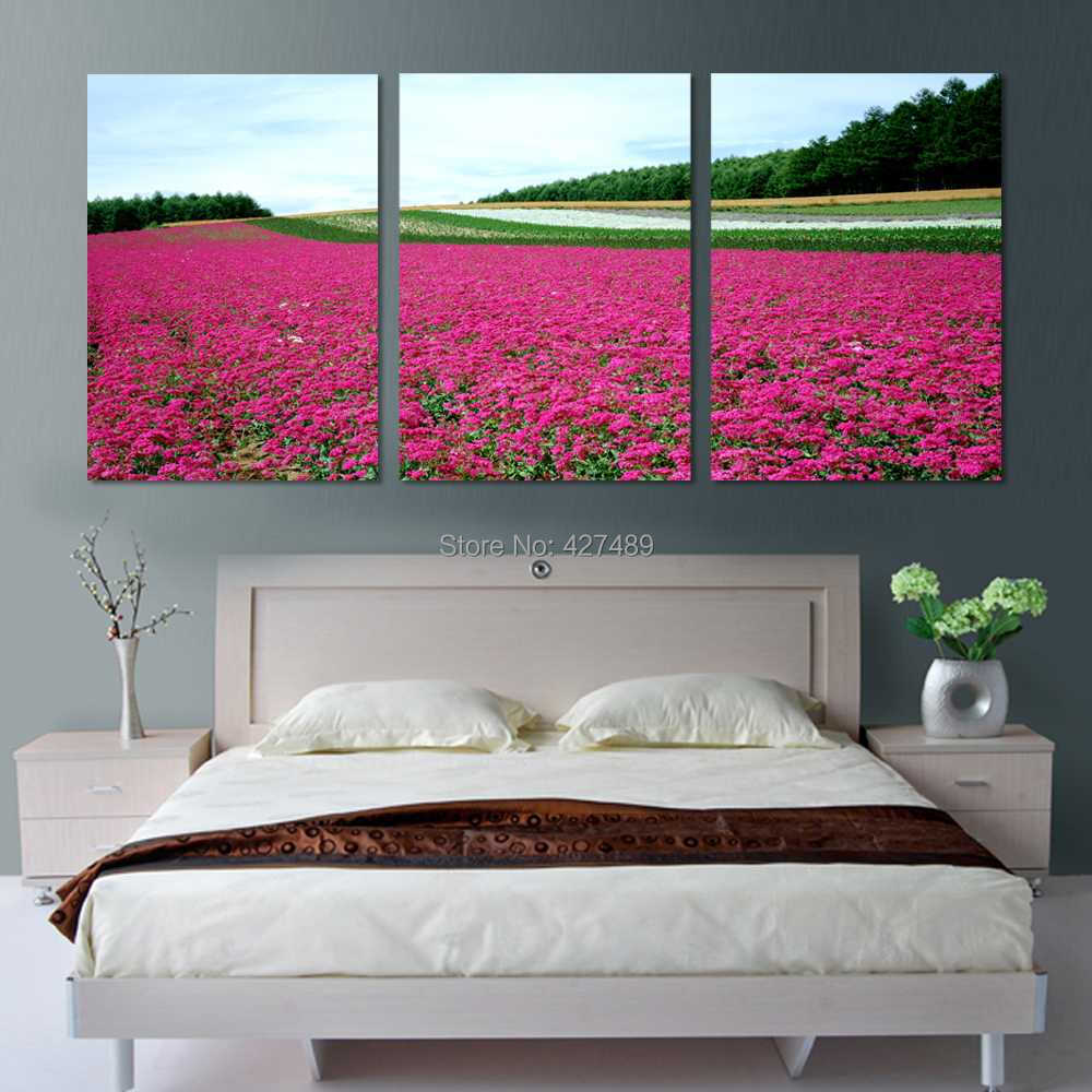 3 Panel modern wall art home decoration frameless oil painting canvas prints pictures P206 red flower field natural scenery - Ann Taylor's Store store