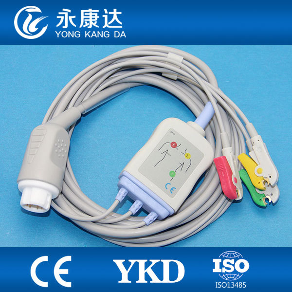 ECG Trunk cable with 3 leadwires ,IEC,Clip, Mindray PM5000 PM6000 T5/T6/T8 with 12-pin input connector<br><br>Aliexpress