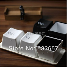 Fashion Creative Design keyboard Key CUP black/white Coffee mug cup minimalist style for Gifts free shipping(3pcs/lot/set)