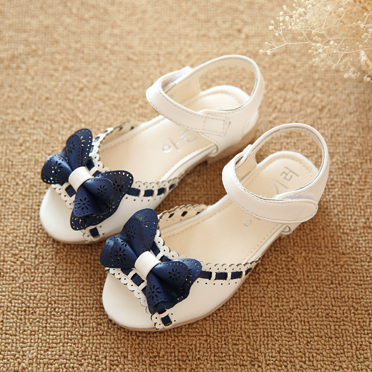 2015 Summer new shelves female child sandals small child princess shoes 1 - 12 shoes baby open toe shoes Pretty Bowtie Girl Shoe(China (Mainland))
