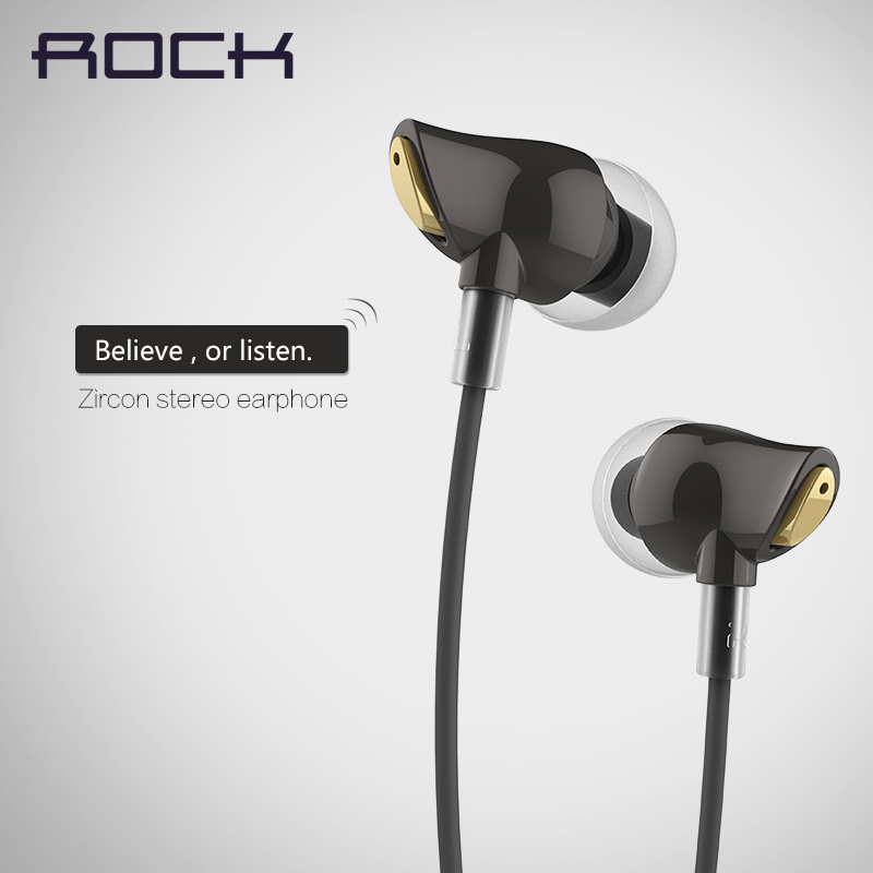 ROCK Brand In Ear Zircon Stereo Headphone Headset 3.5mm Luxury earphone Earbuds For iPhone Samsung With Mic clear bass(China (Mainland))