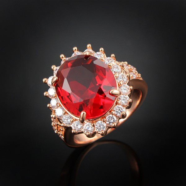 GALAXY New Trendy Red Crystal Ruby Wedding Rings For Women Fashion 18K Rose Gold Plated Engagement