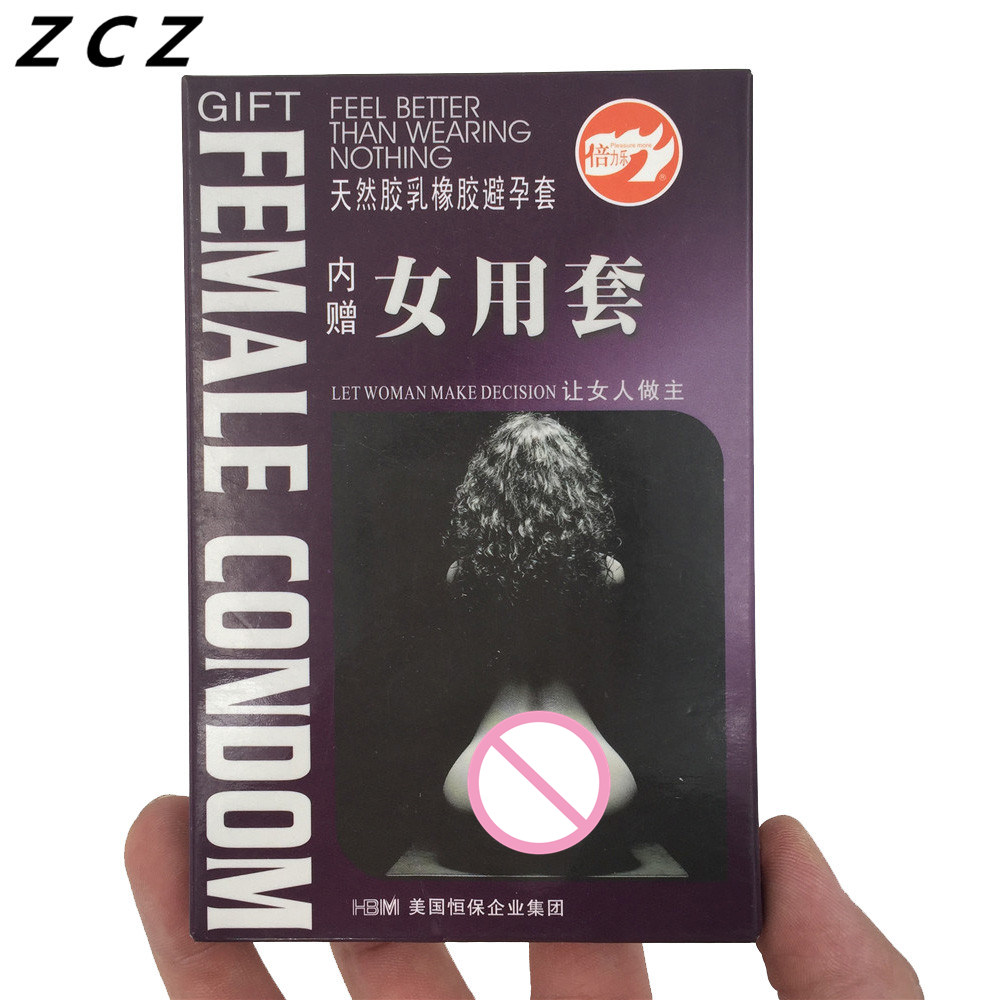 ZCZ Condom (2 pieces women + 4 pieces men) Pleasure more ultra-thin type female sexy adult Sex products For Women Men WA079