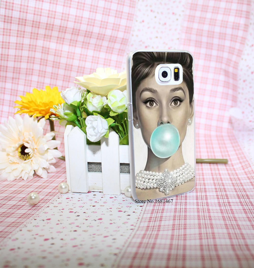 Audrey Hepburn Tiffany Blue Style Hard Transparent Phone Cases Cover for Galaxy S6 edge s5 s4 mini s3 mini(China (Mainland))