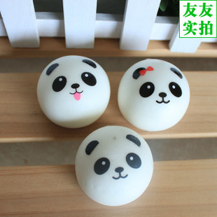 Retail Kawaii Panda Couple Squishy Cell Phone Straps Cute Squishy Buns Bread Charms