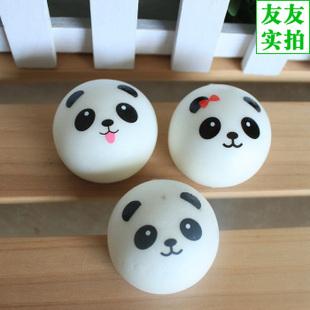 Retail Kawaii Panda Couple Squishy Cell Phone Straps Cute Squishy Buns Bread Charms