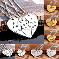 2015 Europe Style Fashion broken Heart 3 Parts And 2 Parts Pendant Necklace Best Bitches Best Friend Forever Friendship Necklace