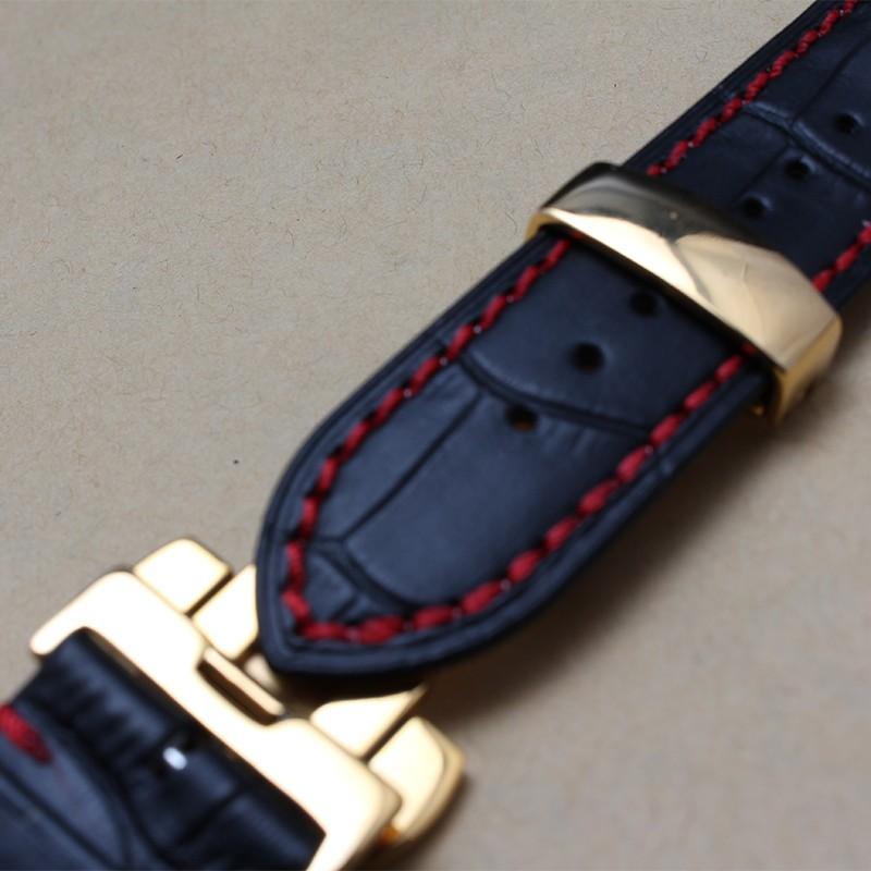Новое прибытие Черные Натуральной Кожи Ремешок Для Часов ремешок 20 мм 22 мм с красной нитью Часы Аксессуары rosegold пряжка металлическая застежка