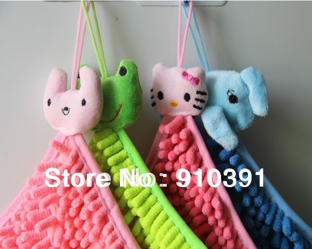 Free shipping chenille hand towel animal head quick-drying towel washcloth as bathroom product.