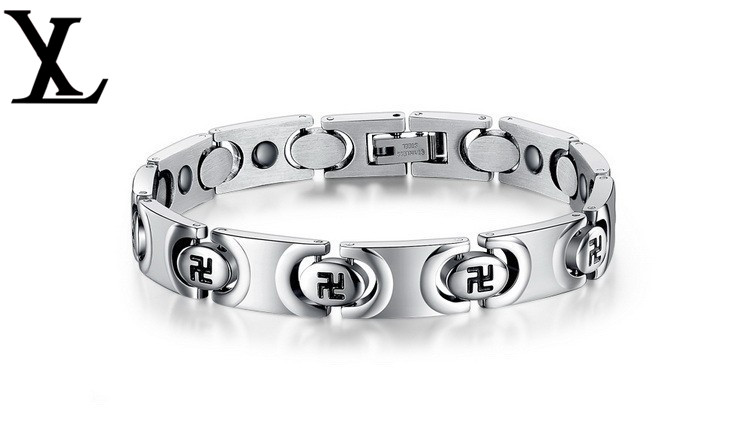 Stainless steel energy health care magnetic chain bracelets swastika bracelet jewelry(China (Mainland))