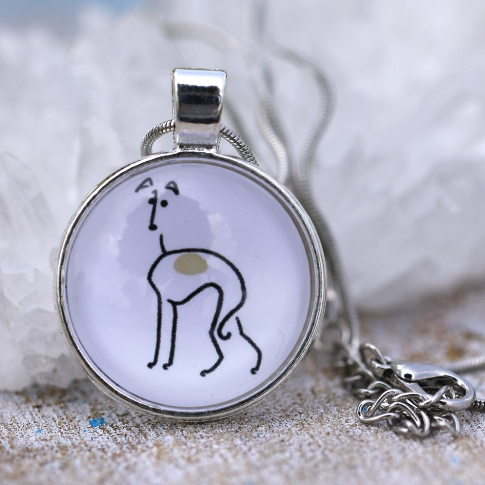 M2028 I Love Greyhounds Necklace Jewelry Dog Lover Necklaces Round Unique Silver Cute Glass Pet Lovers Gift Idea 2016 Drop Ship(China (Mainland))