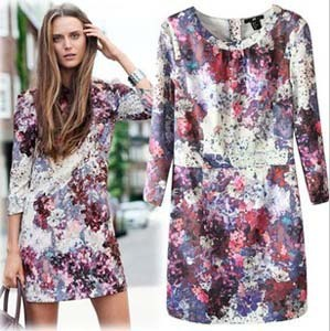 2013 New Arrival Brand Women's Long Sleeve Vintage Silk Print Dress