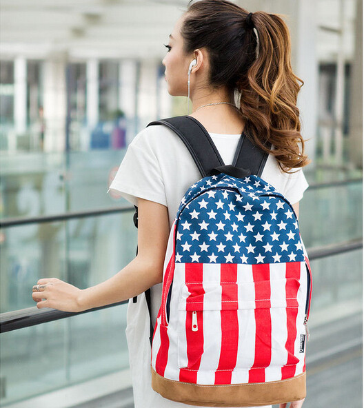 Women Bags Casual European And American Style Fashion Rivet Star Backpack USA Flag Canvas Shoulder Backpack For Teenage(China (Mainland))