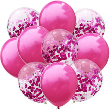 10 Pcs/lot 12 Inch Balon Lateks dan Berwarna Confetti Pesta Ulang Tahun Dekorasi Mencampur Rose Pernikahan Dekorasi Helium Ballon(China)