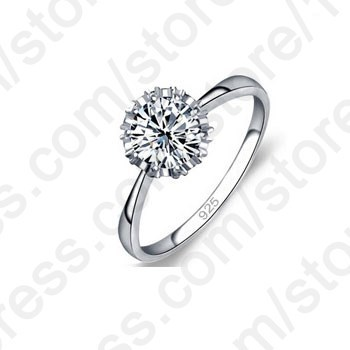 High Quality 925 Sterling Silver Jewelry Classic Engagement Ring 4 Size AAA CZ Diamond Ring Jewelry