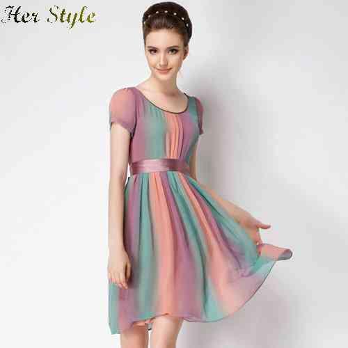 Free Shipping new 2015 summer size dresses mother dress 100 silk Rainbow female 1432025791(China (Mainland))