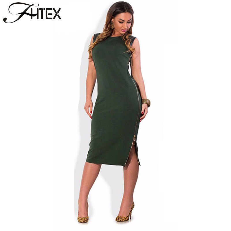 Women Plus Size Dress Clothing 5XL 6XL Fashion PU Leather Patchwork Side Zipper Split Summer Casual Party Office Loose Dress(China (Mainland))