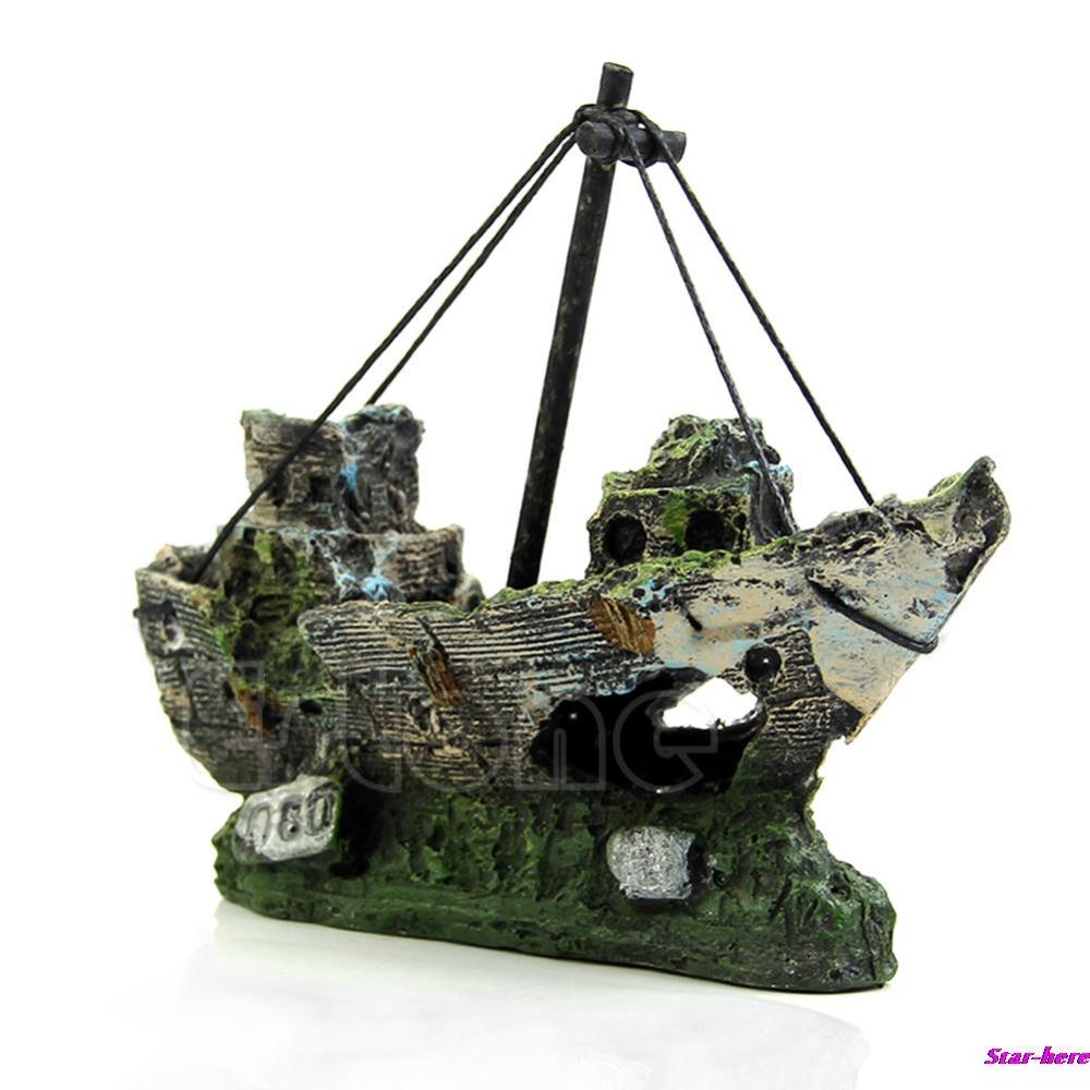Aquarium Ornament Wreck Sailing Boat Sunk Ship Destroyer Fish Tank Cave Decor Free Shipping(China (Mainland))