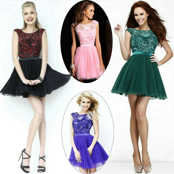 silver green pink purple red and black cocktail dress for